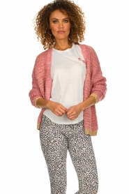 Les Favorites |  Knitted cardigan with glitter details Robbie | pink  | Picture 4