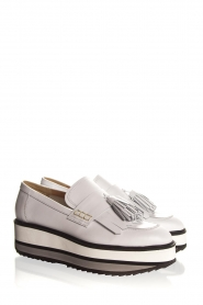 Janet & Janet :  Leather platform loafers Cleo | white - img4