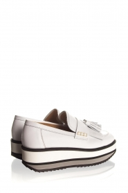 Janet & Janet :  Leather platform loafers Cleo | white - img5