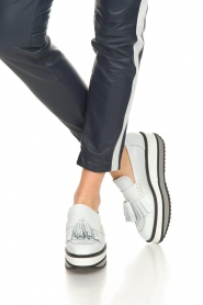Janet & Janet :  Leather platform loafers Cleo | white - img3
