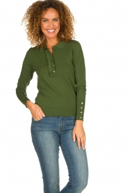 Dante 6 |  Polo sweater with ruffles Mae | green  | Picture 2