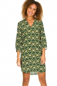 Dante 6 |  Printed dress Kravitz | green  | Picture 2