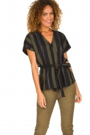 Dante 6 |  Striped wrap top Lucy | green  | Picture 2