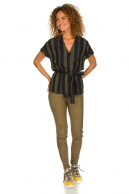 Dante 6 |  Striped wrap top Lucy | green  | Picture 3
