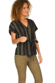 Dante 6 |  Striped wrap top Lucy | green  | Picture 4