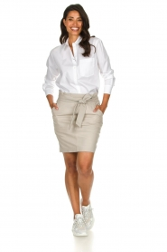 Dante 6 |  Belted leather skirt Abbey | grey  | Picture 3