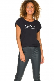 Dante 6 |  Cotton T-shirt with text print Icon | black  | Picture 2
