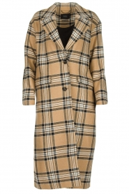 Set |  Long checkered coat Myrna | camel  | Picture 1