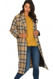 Set    Long checkered coat Myrna   camel    Picture 2