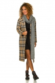 Set |  Long checkered coat Myrna | camel  | Picture 3