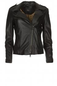 Set |  Leather biker jacket Marthe | black  | Picture 1