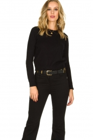 Depeche |  Leather belt Mandy | black  | Picture 2