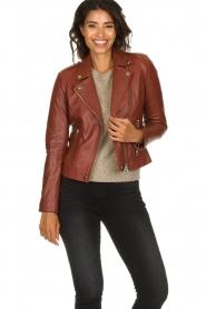 Set    Leather biker jacket Mey   brown    Picture 5