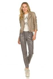 Set |  Leather biker jacket Mey | grey  | Picture 3