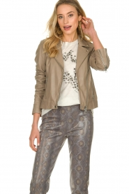 Set |  Leather biker jacket Mey | grey  | Picture 2