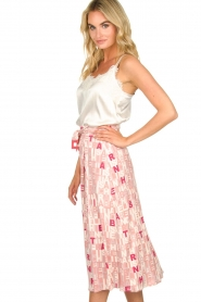 ELISABETTA FRANCHI :  Skirt with letterdesign Peonia | pink - img4