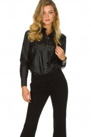 Set |  Leather blouse Marcella | black  | Picture 2