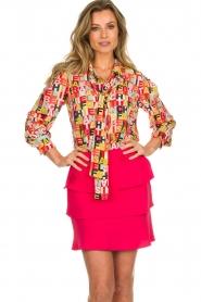 ELISABETTA FRANCHI |  Logo print blouse Nora | multi  | Picture 2