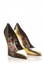 ELISABETTA FRANCHI |  Leather metallic pumps Mae | gold  | Picture 5