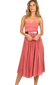 ELISABETTA FRANCHI |  Wired strapless lurex dress Phileine | pink  | Picture 4