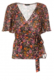 Set |  Floral wrap top Myles | black  | Picture 1