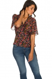 Set |  Floral wrap top Myles | black  | Picture 2