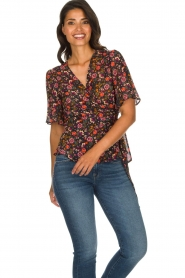 Set |  Floral wrap top Myles | black  | Picture 4
