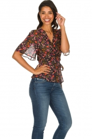Set |  Floral wrap top Myles | black  | Picture 5