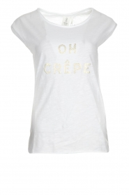 Knit-ted |  T-shirt with text application Marie | white  | Picture 1