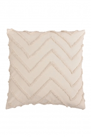 Little Soho Living |  50x50 Zigzag embroidered cushion cover Nova | natural  | Picture 1