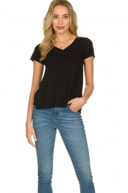 American Vintage |  Basic V-neck T-shirt Jacksonville | black  | Picture 2