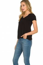 American Vintage |  Basic V-neck T-shirt Jacksonville | black  | Picture 3