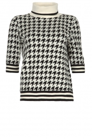 Set    Houndtstooth printed turtleneck sweater Mochi   black & white    Picture 1