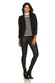 Set    Houndtstooth printed turtleneck sweater Mochi   black & white    Picture 3