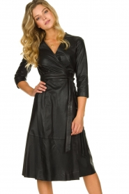 Set |  Leather midi dress Meryam | black  | Picture 2