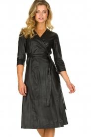 Set |  Leather midi dress Meryam | black  | Picture 4