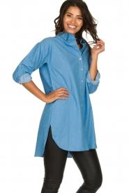 Les Favorites |  Cotton tunic blouse Ineke | blue  | Picture 4