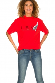 IRO |  T-shirt with logo print Olcott | red  | Picture 2