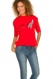 IRO |  T-shirt with logo print Olcott | red  | Picture 3