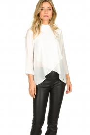 Kocca |  Asymmetric blouse Dominga  | white  | Picture 2