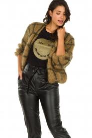 Les tricots d'o | Woolen cardigan Fine Line | brown  | Picture 2