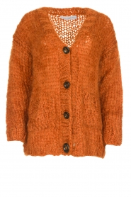 Les tricots d'o | Woolen cardigan Forrest | orange  | Picture 1