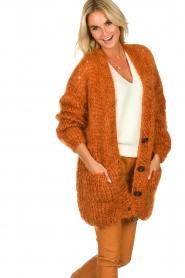 Les tricots d'o | Woolen cardigan Forrest | orange  | Picture 2