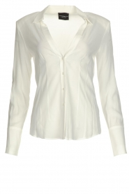Atos Lombardini |  Blouse with V-neck Lucia | white  | Picture 1