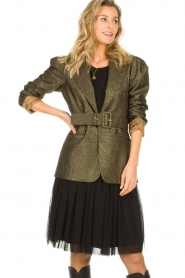 Atos Lombardini |  Blazer with lurex Lucy | metallic gold  | Picture 2