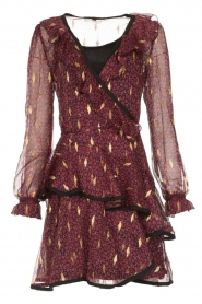 Freebird |  Printed wrap dress Chloe | burgundy  | Picture 1