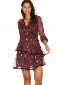 Freebird |  Printed wrap dress Chloe | burgundy  | Picture 2