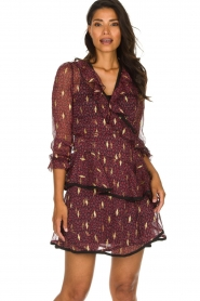 Freebird |  Printed wrap dress Chloe | burgundy  | Picture 4