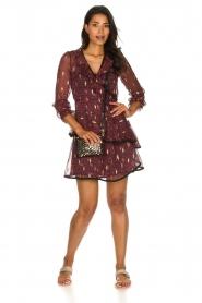 Freebird |  Printed wrap dress Chloe | burgundy  | Picture 3