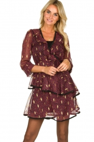 Freebird |  Printed wrap dress Chloe | burgundy  | Picture 2